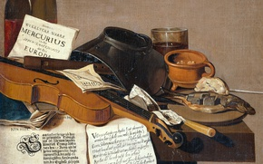 Picture violin, oil, picture, canvas, Antonius Leemans, Still life with a Copy of the Magazine and …
