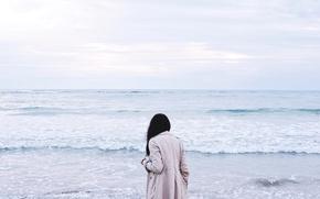 Picture sea, wave, girl, brunette, cloak