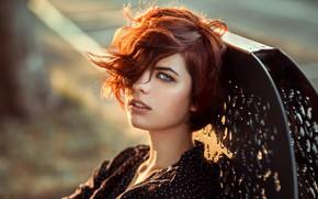 Wallpaper look, the sun, portrait, hairstyle, red, beauty, bokeh, Leeloo, Lods Franck