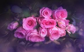 Wallpaper flowers, roses, bouquet, texture, blur
