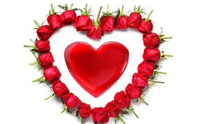 Picture heart, red, rose, heart, romantic, Valentine's Day, red roses