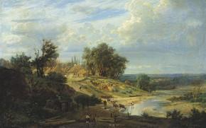 Picture landscape, oil, picture, canvas, View near Kharkov, Alexander Kiselev