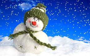 Picture Winter, Snow, Hat, Scarf, Snowman