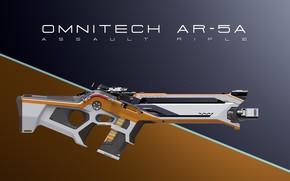 Picture design, weapons, diagonal, Assault Rifle, Omnitech AR-5A