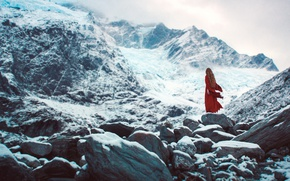 Picture cold, winter, girl, snow, mountains, fog, loneliness, stones, overcast, mood, rocks, red, hair, back, the …