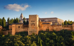 Picture the sky, the sun, trees, wall, tower, fortress, Spain, Alhambra, Granada