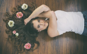 Picture look, flowers, face, model, hair