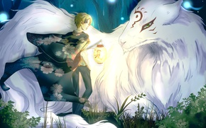 Picture forest, trees, nature, anime, art, lantern, guy, madara, natsume takashi, Natsume Yuujinchou, the Natsume book …