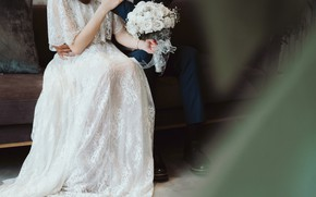 Picture holiday, bouquet, costume, the bride, white dress, wedding, the groom, wedding