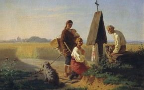 Picture flowers, oil, dog, cross, well, Canvas, 1863, the peasants, Gathering at the Church, Konstantin TRUTOVSKY