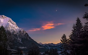 Picture the sky, trees, mountains, Germany, Bayern, Alps, Germany, Bavaria, Alps, Karwendel, Karwendel, Mittenwald, The middle ...