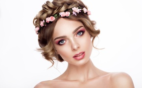 Picture look, girl, roses, makeup, hairstyle, shoulders, wreath