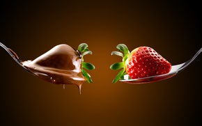 Picture Strawberry, chocolate, spoon