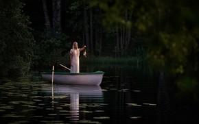 Picture The Lake, Jörgen Petersen, boat, girl, lamp