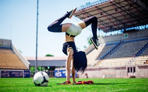 Wallpaper Football, ball, pose, female, workout, yoga