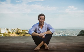 Picture landscape, pose, barefoot, advertising, actor, shirt, sitting, photoshoot, Chris Pine, pants, terrace, Chris Pine, 2017, …