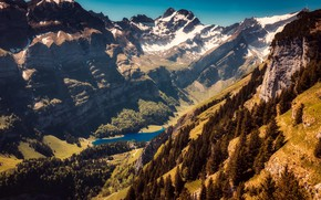 Picture the sun, trees, mountains, lake, rocks, height, Switzerland, gorge, the view from the top