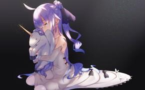 Picture night, unicorn, girl, Azur Lane