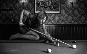 Wallpaper girl, balls, Billiards, cue