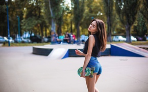 Wallpaper skateboard, skate, Evgenia, shorts, Playground, makeup, bokeh, hairstyle, Mike, trees, brown hair, Grigoriy Lifin, cute, ...