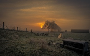 Picture clouds, sunset, Netherlands, Zeevang
