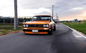 Picture Auto, Machine, Orange, Nissan, Nissan, Lights, Car, 2000, Skyline, Nissan Skyline, 1972, 2000GT, Japanese, 2000GT-R, …