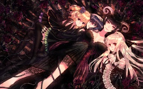 Picture girls, roses, spikes, horns, anime, art