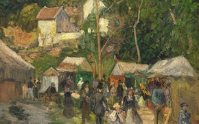 Picture people, holiday, stay, picture, genre, Camille Pissarro, Festival at the Hermitage