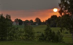 Picture Nature, Home, Sunrise, Village, Field, Sweden, Sweden, Sunrise, Village, Fields