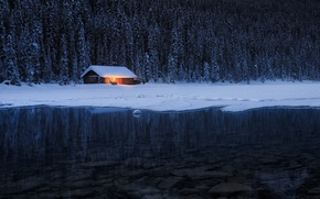 Picture winter, forest, light, nature, river, the evening, house