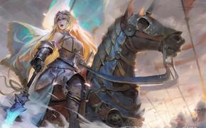 Picture weapons, horse, anime, spear, Ruler, art, Joan of arc, girl, armor