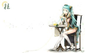 Picture girl, smile, tea, anime, art, vocaloid, hatsune miku, kyod+