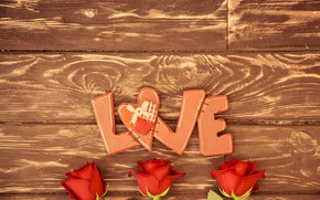 Picture love, flowers, letters, background, the inscription, Board, roses, red, three, Valentine's day, LOVE