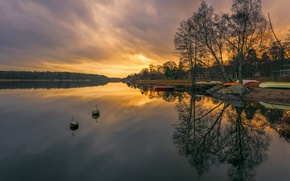 Picture sunset, nature, lake, boats, Sweden, Sweden, lake, sunsets, boats, Marinas