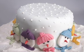 Picture cake, faces, glaze, Christmas