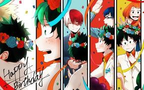 Picture anime, art, Boku no Hero Academy, My hero Academy, Todoroki Shoto, Midori
