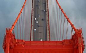 Wallpaper USA, support, Golden Gate, San Francisco, bridge, cars