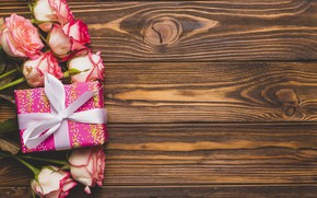 Wallpaper Gift, Holiday, Flowers, Roses