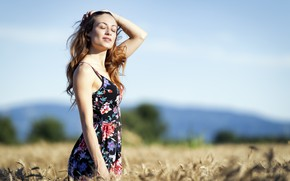 Picture field, the sky, face, hair, dress, cutie, Erika