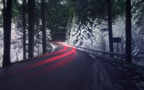 Wallpaper road, forest, light, snow, excerpt