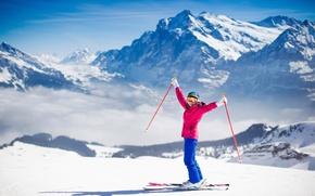 Picture winter, girl, the sun, mountains, ski, Switzerland, frost, jacket, winter, mountains, snow, sun, skiing