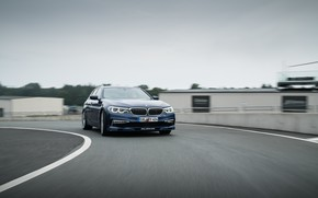 Wallpaper road, movement, overcast, turn, BMW, 4x4, universal, Alpina, 4WD, Combi, dark blue, 2017, G31, V8 ...