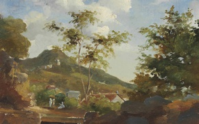 Picture landscape, mountain, picture, Antilles, Camille Pissarro, The village at the Foot of the Mountain in …