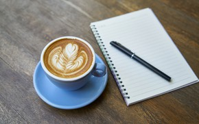 Picture coffee, handle, Cup, Notepad, foam