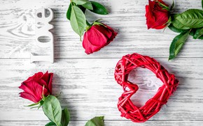 Picture love, flowers, heart, roses, bouquet, red, red, love, heart, wood, flowers, romantic, Valentine's Day, gift, …