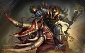Picture warrior, art, helmet, boar, armor, Heroes of Newerth, Rampage, Gory Vanguard
