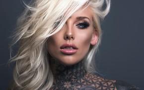 Picture look, face, model, hair, makeup, tattoo, blonde, Lauren Brock, Jack Russell