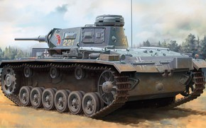 Picture during the Second world war, German medium tank, PzKpfw III Ausf.H, Pz.Kpfw. III Ausf. H, …