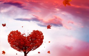 Picture autumn, leaves, tree, heart