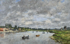 Picture landscape, boat, picture, Eugene Boudin, Eugene Boudin, The river Touques at Trouville